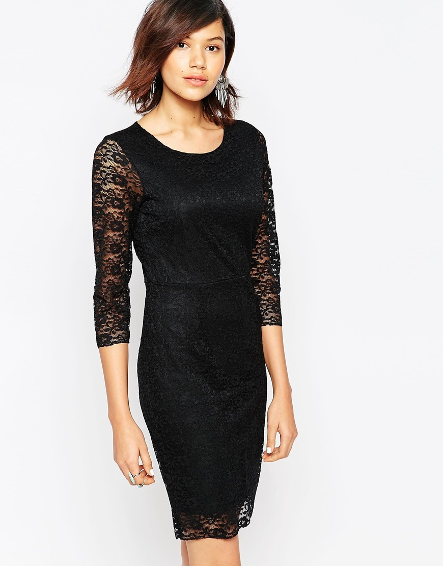 3/4 Sleeve Lace Dress Black - style: shift; predominant colour: black; occasions: evening, occasion; length: just above the knee; fit: body skimming; fibres: nylon - mix; neckline: crew; sleeve length: 3/4 length; sleeve style: standard; texture group: lace; pattern type: fabric; pattern size: standard; pattern: patterned/print; embellishment: lace; season: a/w 2015