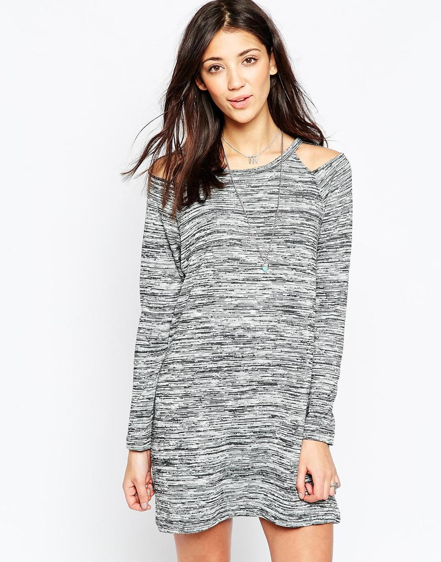 Cut Out Detail Jumper Dress Charcoal Marl - style: jumper dress; length: mid thigh; neckline: round neck; predominant colour: light grey; occasions: casual; fit: body skimming; fibres: polyester/polyamide - mix; shoulder detail: cut out shoulder; sleeve length: long sleeve; sleeve style: standard; texture group: knits/crochet; pattern type: fabric; pattern: marl; season: a/w 2015; wardrobe: highlight