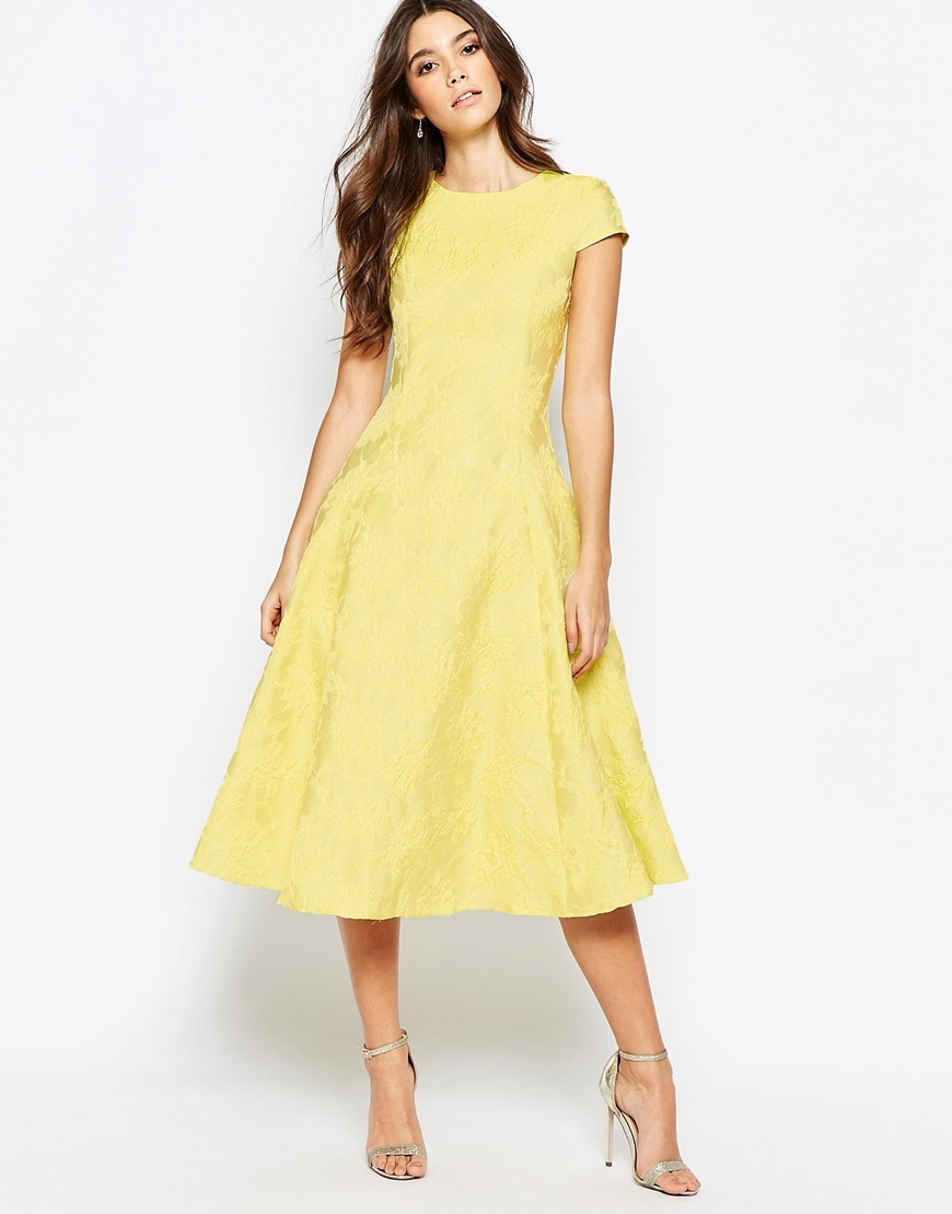 Fit And Flare Full Skater Dress In Exclusive Jaquard Yellow - length: below the knee; sleeve style: capped; pattern: plain; predominant colour: primrose yellow; fit: fitted at waist & bust; style: fit & flare; fibres: polyester/polyamide - 100%; occasions: occasion; neckline: crew; sleeve length: short sleeve; pattern type: fabric; texture group: brocade/jacquard; season: a/w 2015; wardrobe: event
