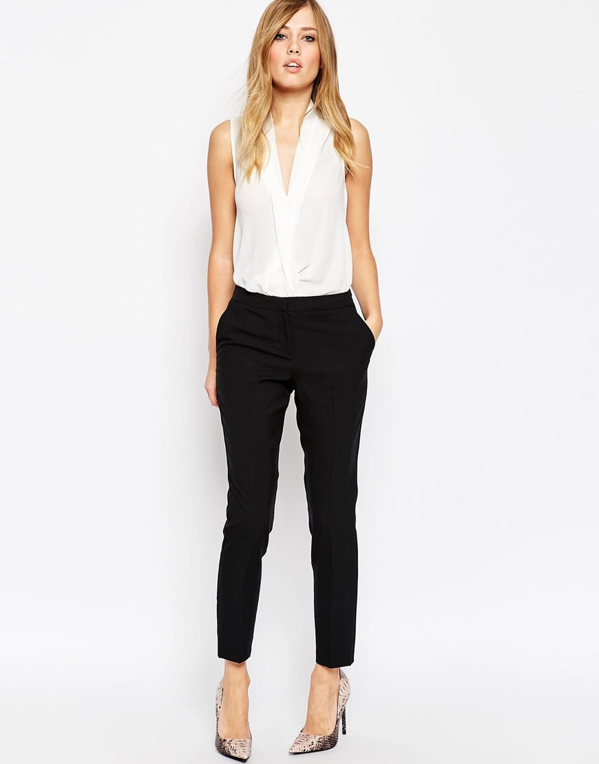 Ultimate Ankle Grazer Trousers Black - length: standard; pattern: plain; pocket detail: pockets at the sides; waist: mid/regular rise; predominant colour: black; occasions: casual, work, creative work; fibres: polyester/polyamide - 100%; hip detail: front pleats at hip level; waist detail: narrow waistband; fit: slim leg; pattern type: fabric; texture group: woven light midweight; style: standard; season: a/w 2015