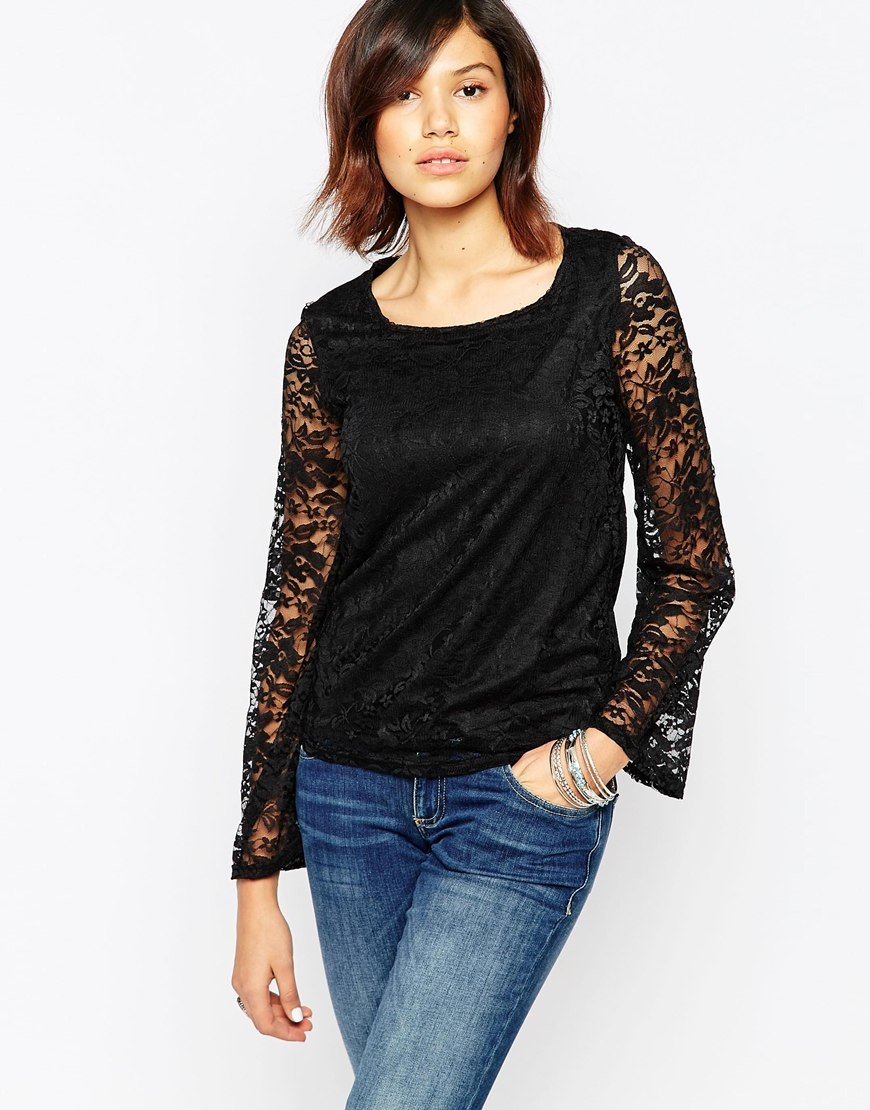 Long Sleeve Lace Top Black - pattern: plain; predominant colour: black; occasions: evening, creative work; length: standard; style: top; neckline: scoop; fibres: polyester/polyamide - 100%; fit: body skimming; sleeve length: long sleeve; sleeve style: standard; pattern type: fabric; texture group: jersey - stretchy/drapey; embellishment: lace; season: a/w 2015; wardrobe: highlight