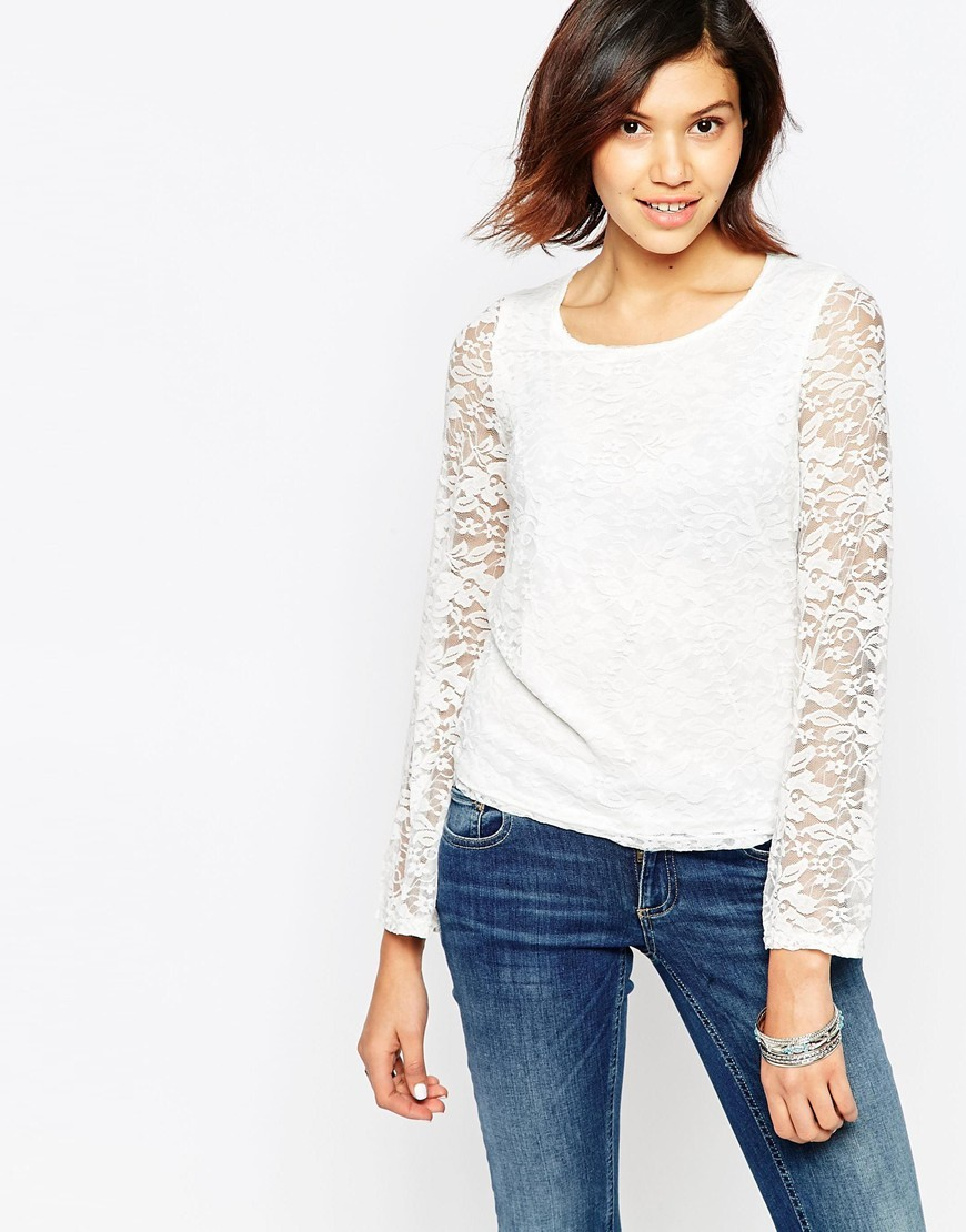 Long Sleeve Lace Top Cloud Dancer - neckline: roll neck; predominant colour: white; occasions: evening; length: standard; style: top; fibres: polyester/polyamide - 100%; fit: body skimming; sleeve length: long sleeve; sleeve style: standard; texture group: lace; pattern type: fabric; pattern: patterned/print; season: a/w 2015; wardrobe: event