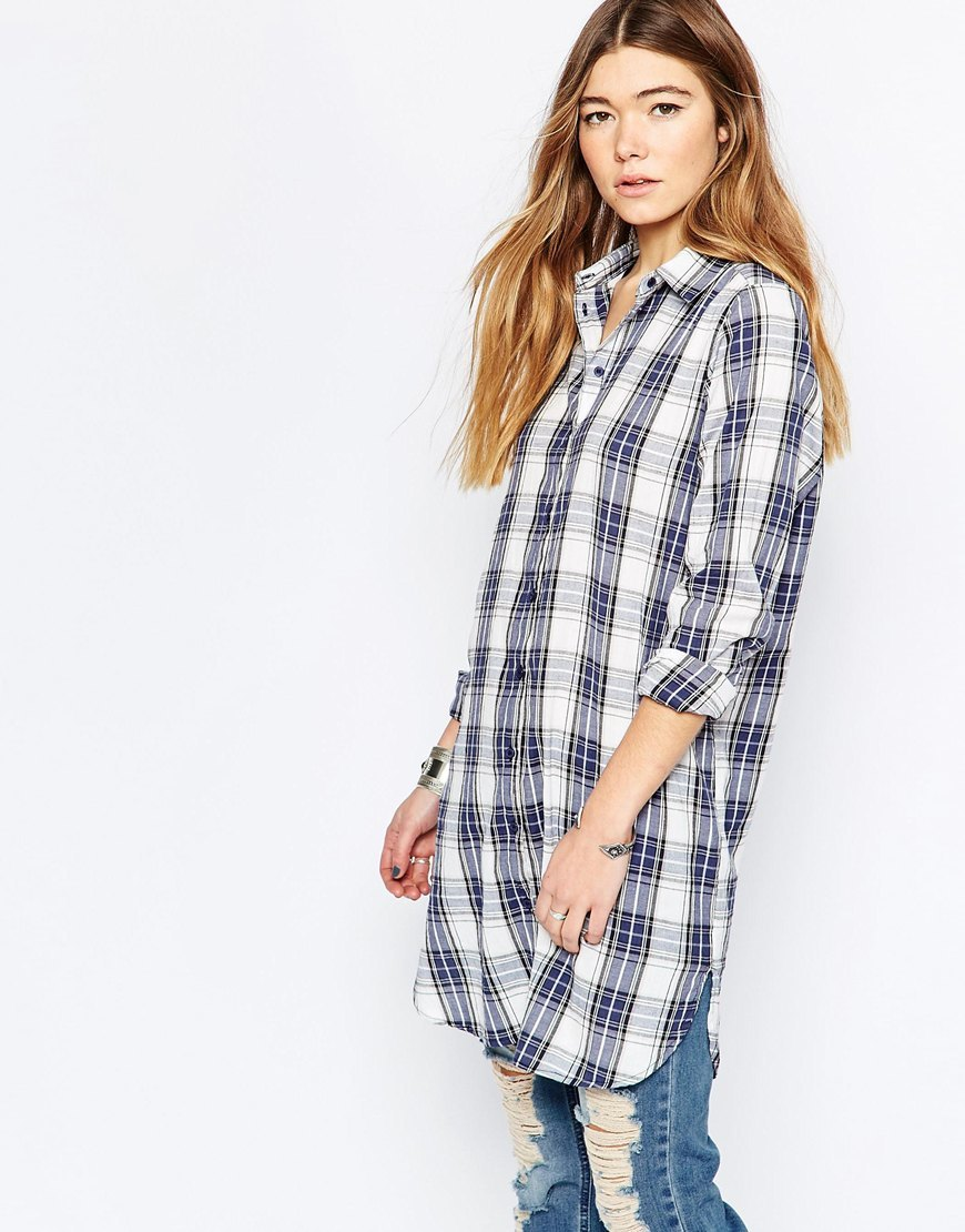 Longline Checked Shirt Cloud Dancer Checks - neckline: shirt collar/peter pan/zip with opening; pattern: checked/gingham; style: shirt; predominant colour: white; occasions: casual; fibres: cotton - 100%; fit: loose; length: mid thigh; sleeve length: long sleeve; sleeve style: standard; texture group: cotton feel fabrics; pattern type: fabric; pattern size: big & busy (top); season: a/w 2015; wardrobe: highlight