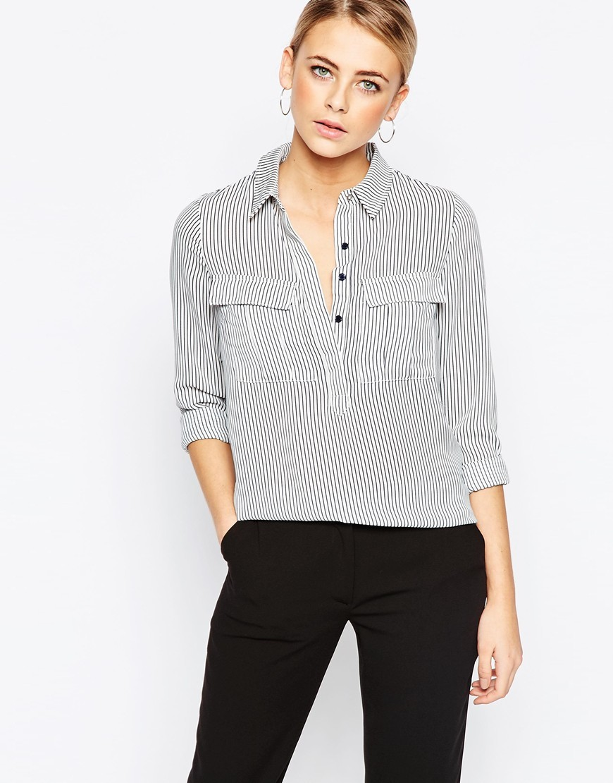 Vertical Stripe Shirt Multi - neckline: shirt collar/peter pan/zip with opening; pattern: striped; style: shirt; bust detail: pocket detail at bust; predominant colour: light grey; occasions: casual, creative work; length: standard; fibres: polyester/polyamide - 100%; fit: body skimming; sleeve length: 3/4 length; sleeve style: standard; pattern type: fabric; pattern size: standard; texture group: other - light to midweight; season: a/w 2015