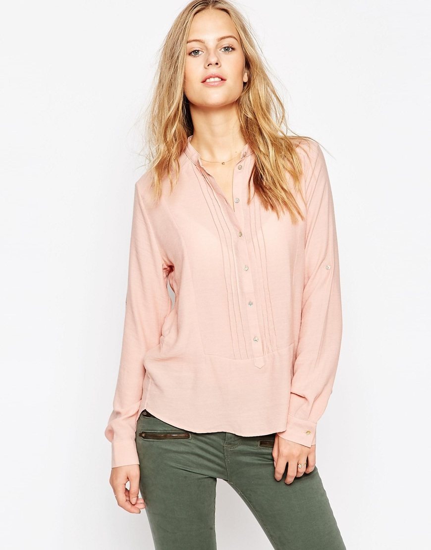 Pink Collarless Shirt Pink - pattern: plain; style: shirt; predominant colour: pink; occasions: casual, work, creative work; length: standard; neckline: collarstand; fit: body skimming; sleeve length: long sleeve; sleeve style: standard; pattern type: fabric; texture group: other - light to midweight; fibres: viscose/rayon - mix; season: a/w 2015; trends: pink aw 15; wardrobe: highlight