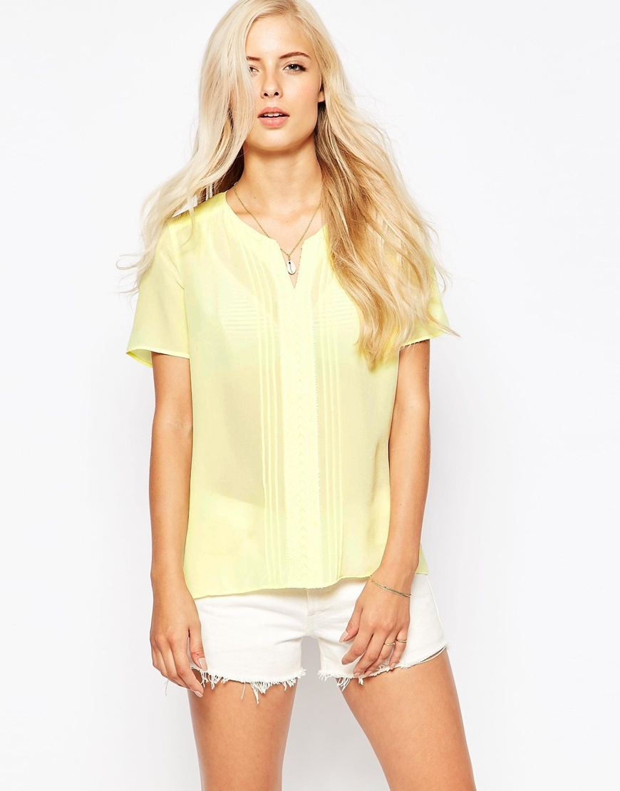 Silk Top With Lace Lemon - neckline: shirt collar/peter pan/zip with opening; pattern: plain; style: shirt; predominant colour: primrose yellow; occasions: casual, creative work; length: standard; fibres: silk - 100%; fit: straight cut; sleeve length: short sleeve; sleeve style: standard; texture group: crepes; pattern type: fabric; season: a/w 2015; wardrobe: highlight