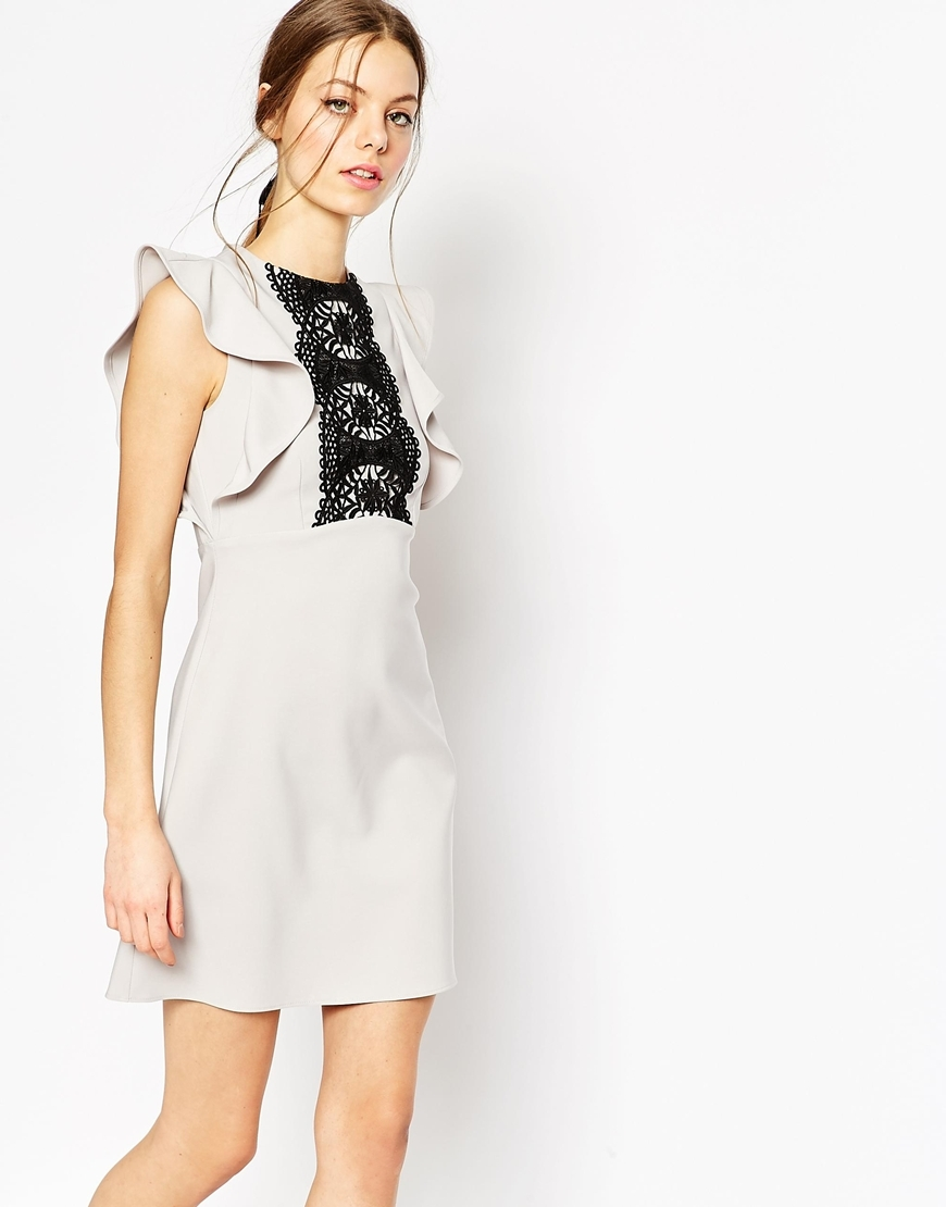 Structured Frill Sleeve Lace Panel Dress Grey - style: shift; length: mid thigh; sleeve style: angel/waterfall; predominant colour: light grey; secondary colour: black; occasions: evening; fit: soft a-line; fibres: polyester/polyamide - stretch; neckline: crew; sleeve length: short sleeve; texture group: crepes; pattern type: fabric; pattern size: light/subtle; pattern: patterned/print; embellishment: lace; season: a/w 2015; wardrobe: event; embellishment location: shoulder