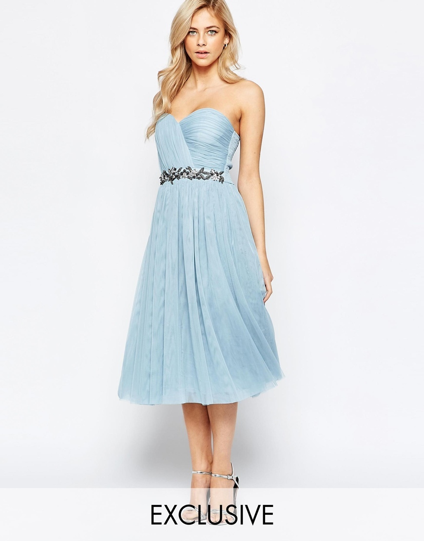 Bandeau Embellished Midi Dress With Tulle Skirt Soft Blue - length: below the knee; neckline: strapless (straight/sweetheart); pattern: plain; sleeve style: strapless; bust detail: subtle bust detail; predominant colour: pale blue; secondary colour: silver; occasions: evening, occasion; fit: fitted at waist & bust; style: fit & flare; fibres: polyester/polyamide - 100%; hip detail: subtle/flattering hip detail; sleeve length: sleeveless; texture group: sheer fabrics/chiffon/organza etc.; pattern type: fabric; embellishment: beading; season: a/w 2015; wardrobe: event; embellishment location: waist