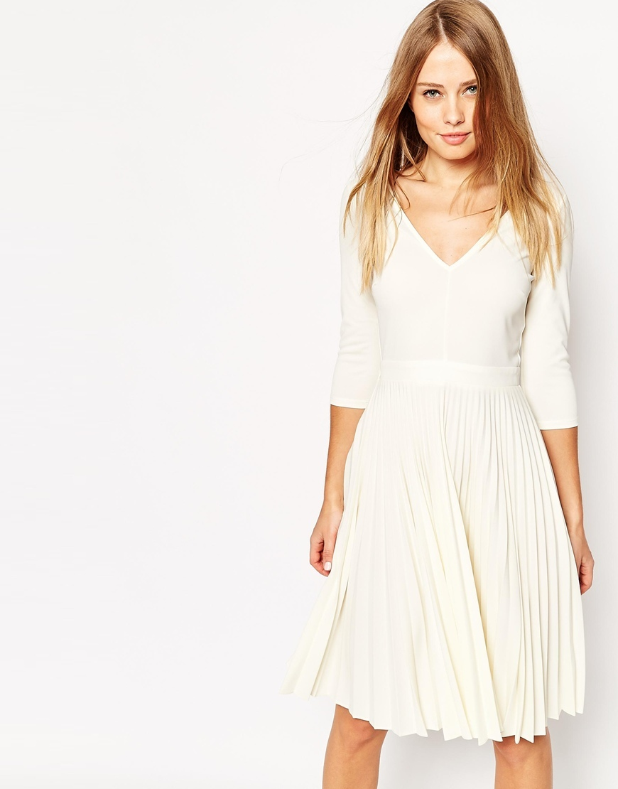 Pleated Midi Dress In Crepe Cream - length: below the knee; neckline: low v-neck; pattern: plain; predominant colour: ivory/cream; occasions: evening; fit: fitted at waist & bust; style: fit & flare; fibres: polyester/polyamide - 100%; sleeve length: 3/4 length; sleeve style: standard; texture group: crepes; pattern type: fabric; season: a/w 2015; wardrobe: event