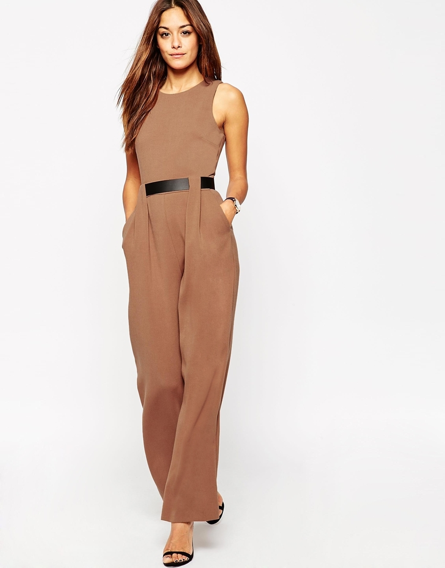 Tailored Jumpsuit With Belted Waist Detail Tobacco - length: standard; pattern: plain; sleeve style: sleeveless; hip detail: front pockets at hip; waist detail: belted waist/tie at waist/drawstring; predominant colour: camel; occasions: evening, occasion; fit: fitted at waist & bust; fibres: polyester/polyamide - 100%; neckline: crew; sleeve length: sleeveless; style: jumpsuit; pattern type: fabric; texture group: woven light midweight; season: a/w 2015