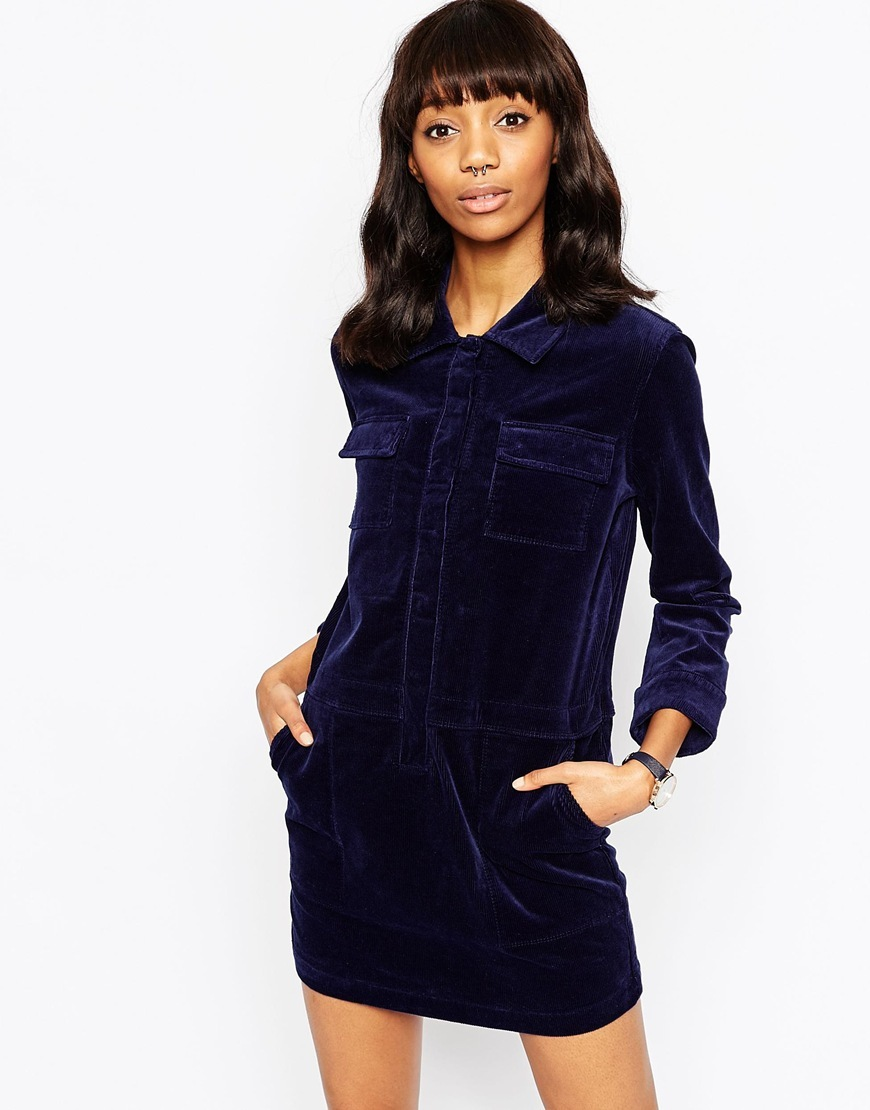 Cord Utility Shift Dress In Navy Navy - style: shift; length: mid thigh; neckline: shirt collar/peter pan/zip with opening; pattern: plain; predominant colour: navy; occasions: casual, creative work; fit: straight cut; fibres: cotton - mix; sleeve length: long sleeve; sleeve style: standard; texture group: corduroy; pattern type: fabric; season: a/w 2015; wardrobe: basic