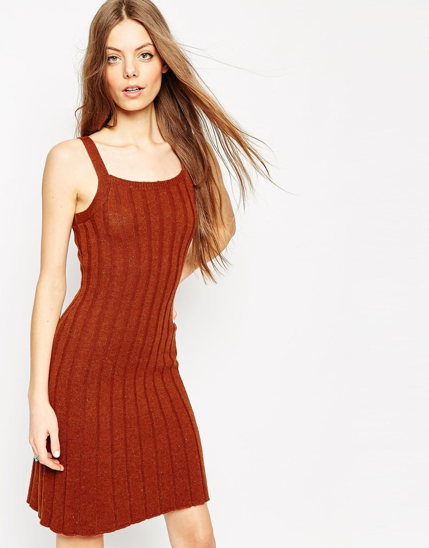 Cami Swing Dress In Rib Knit Tobacco - neckline: round neck; fit: tight; pattern: plain; sleeve style: sleeveless; style: bodycon; predominant colour: terracotta; occasions: casual; length: just above the knee; fibres: acrylic - mix; sleeve length: sleeveless; texture group: jersey - clingy; pattern type: fabric; season: a/w 2015; wardrobe: highlight