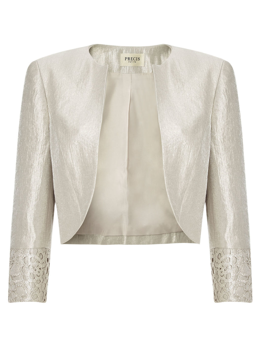 Lace Shimmer Bolero, Oyster - pattern: plain; style: bolero/shrug; collar: round collar/collarless; fit: slim fit; predominant colour: ivory/cream; length: standard; fibres: polyester/polyamide - mix; occasions: occasion; sleeve length: 3/4 length; sleeve style: standard; collar break: low/open; pattern type: fabric; texture group: brocade/jacquard; season: a/w 2015; wardrobe: event