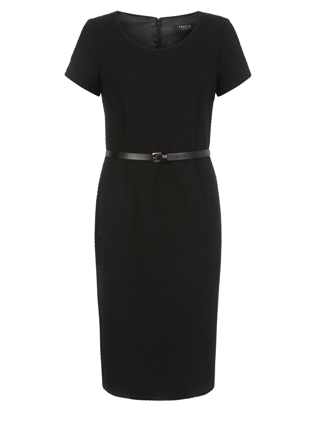 Textured Ponte Black Dress - style: shift; length: below the knee; neckline: round neck; fit: tailored/fitted; pattern: plain; waist detail: twist front waist detail/nipped in at waist on one side/soft pleats/draping/ruching/gathering waist detail; predominant colour: black; occasions: evening, work; fibres: linen - 100%; sleeve length: short sleeve; sleeve style: standard; texture group: linen; pattern type: fabric; season: a/w 2015; wardrobe: investment