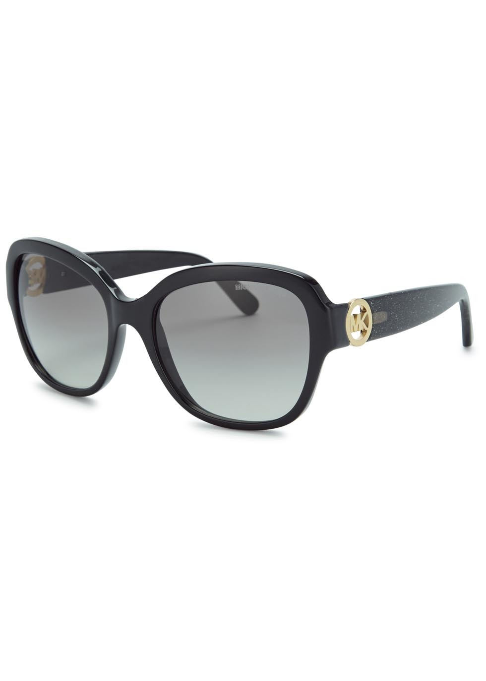Black Oval Frame Sunglasses - secondary colour: gold; predominant colour: black; occasions: casual, holiday; style: round; size: large; material: plastic/rubber; pattern: plain; finish: plain; embellishment: charms; season: a/w 2015