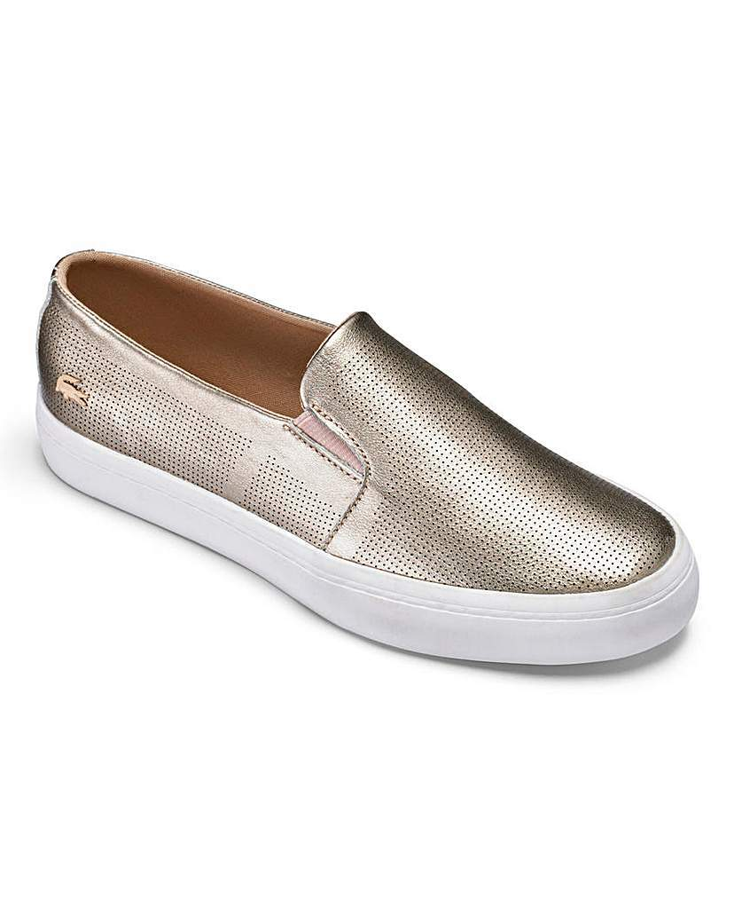 Lacoste Gazon Slip Trainers - secondary colour: white; predominant colour: gold; occasions: casual; material: leather; heel height: flat; toe: round toe; finish: metallic; pattern: colourblock; style: skate shoes; season: a/w 2015; wardrobe: highlight
