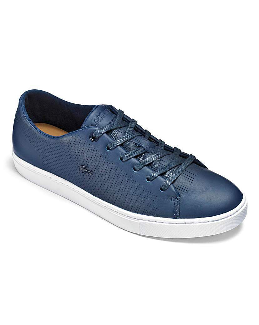 Lacoste Showcourt Lace Up Trainers - secondary colour: white; predominant colour: navy; occasions: casual; material: leather; heel height: flat; toe: round toe; style: trainers; finish: plain; pattern: colourblock; season: a/w 2015
