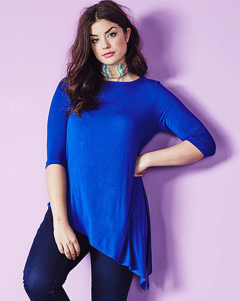 Asymmetric T Shirt - neckline: round neck; pattern: plain; length: below the bottom; style: t-shirt; predominant colour: diva blue; occasions: casual, creative work; fibres: viscose/rayon - 100%; fit: loose; hip detail: subtle/flattering hip detail; sleeve length: 3/4 length; sleeve style: standard; pattern type: fabric; texture group: jersey - stretchy/drapey; season: a/w 2015; wardrobe: highlight