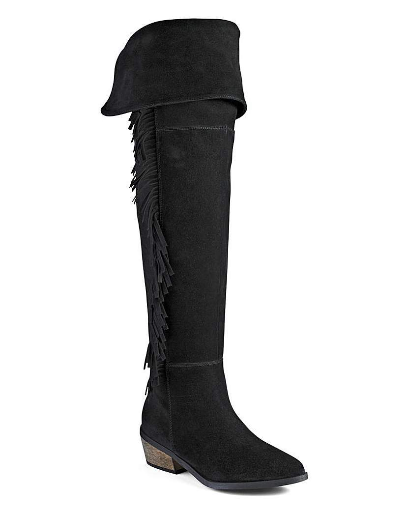 Sole Diva Fringe Boots E Fit - predominant colour: black; occasions: casual, creative work; material: suede; heel height: flat; heel: block; toe: round toe; boot length: over the knee; style: standard; finish: plain; pattern: plain; embellishment: fringing; season: a/w 2015; wardrobe: highlight