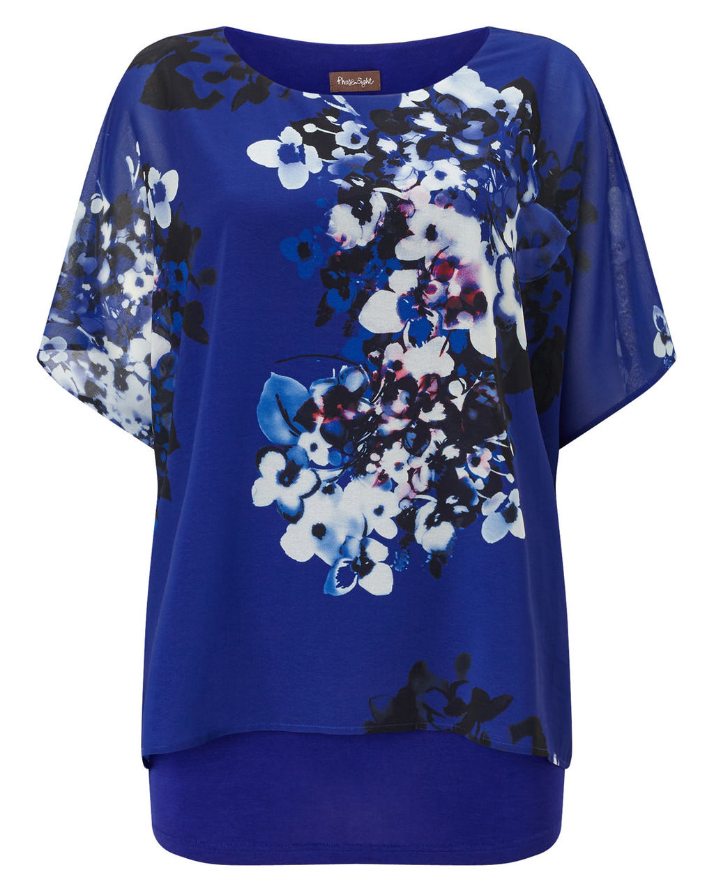 Sadie Floral Blouse - neckline: round neck; length: below the bottom; style: blouse; predominant colour: royal blue; occasions: work, occasion; fibres: silk - 100%; fit: loose; sleeve length: short sleeve; sleeve style: standard; texture group: silky - light; pattern type: fabric; pattern: florals; pattern size: big & busy (top); season: a/w 2015; wardrobe: highlight