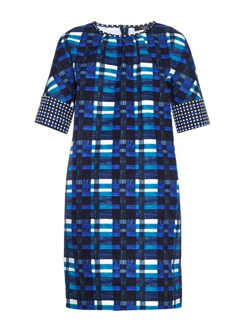 Siro Dress - style: shift; length: mid thigh; pattern: checked/gingham; predominant colour: royal blue; secondary colour: royal blue; occasions: evening; fit: body skimming; fibres: cotton - mix; neckline: crew; sleeve length: short sleeve; sleeve style: standard; pattern type: fabric; pattern size: light/subtle; texture group: other - light to midweight; multicoloured: multicoloured; season: a/w 2015