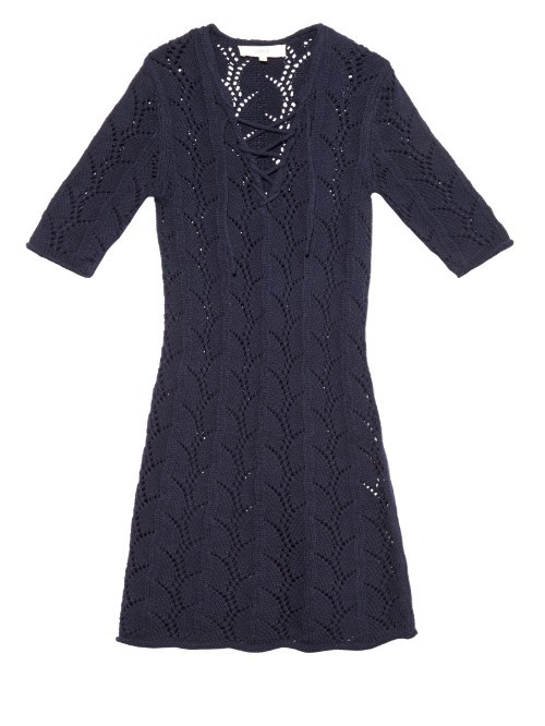 Pointelle Crochet Half Length Sleeve Dress - neckline: v-neck; pattern: plain; predominant colour: navy; occasions: casual, creative work; length: just above the knee; fit: soft a-line; style: fit & flare; fibres: cotton - 100%; sleeve length: half sleeve; sleeve style: standard; texture group: knits/crochet; pattern type: knitted - other; pattern size: standard; season: a/w 2015; wardrobe: basic