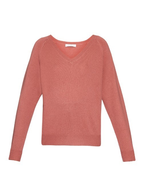 Cambusa Sweater - neckline: v-neck; pattern: plain; style: standard; occasions: casual; length: standard; fit: slim fit; fibres: cashmere - 100%; sleeve length: long sleeve; sleeve style: standard; texture group: knits/crochet; pattern type: fabric; predominant colour: dusky pink; season: a/w 2015; wardrobe: highlight