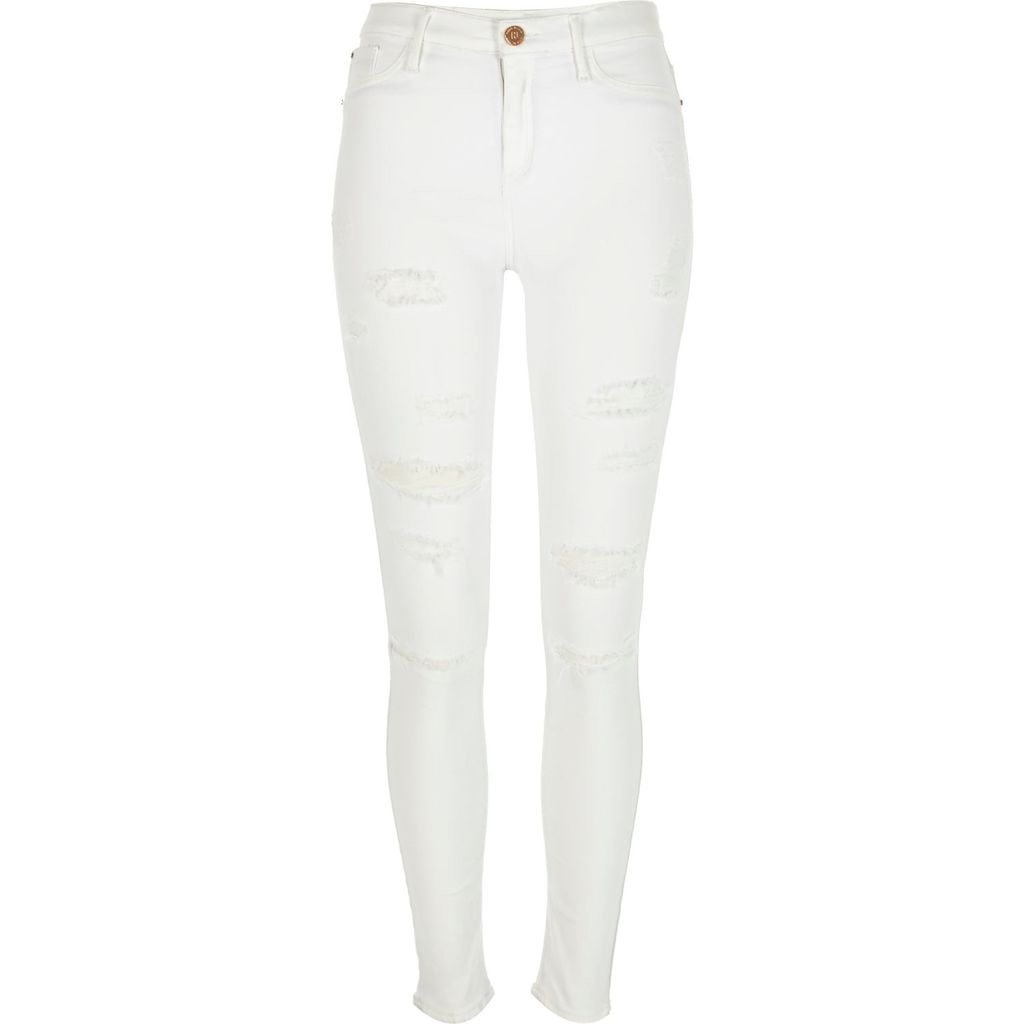 Womens White Distressed Molly Jeggings - style: skinny leg; length: standard; pattern: plain; waist: high rise; pocket detail: traditional 5 pocket; predominant colour: white; occasions: casual; fibres: cotton - stretch; texture group: denim; pattern type: fabric; season: a/w 2015