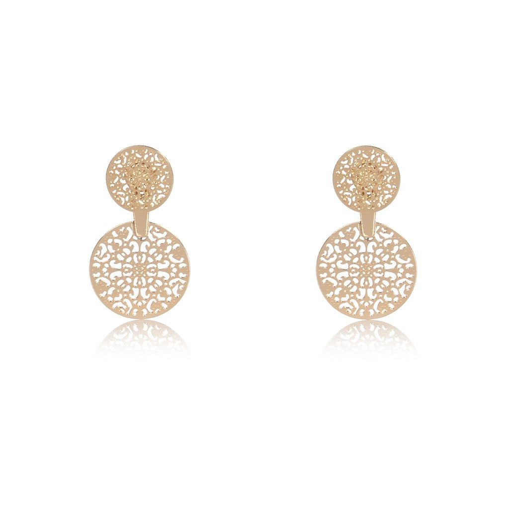 Womens Gold Tone Filigree Front And Back Earrings - predominant colour: gold; occasions: evening, occasion; style: drop; length: mid; size: standard; material: chain/metal; fastening: pierced; finish: metallic; season: a/w 2015; wardrobe: event