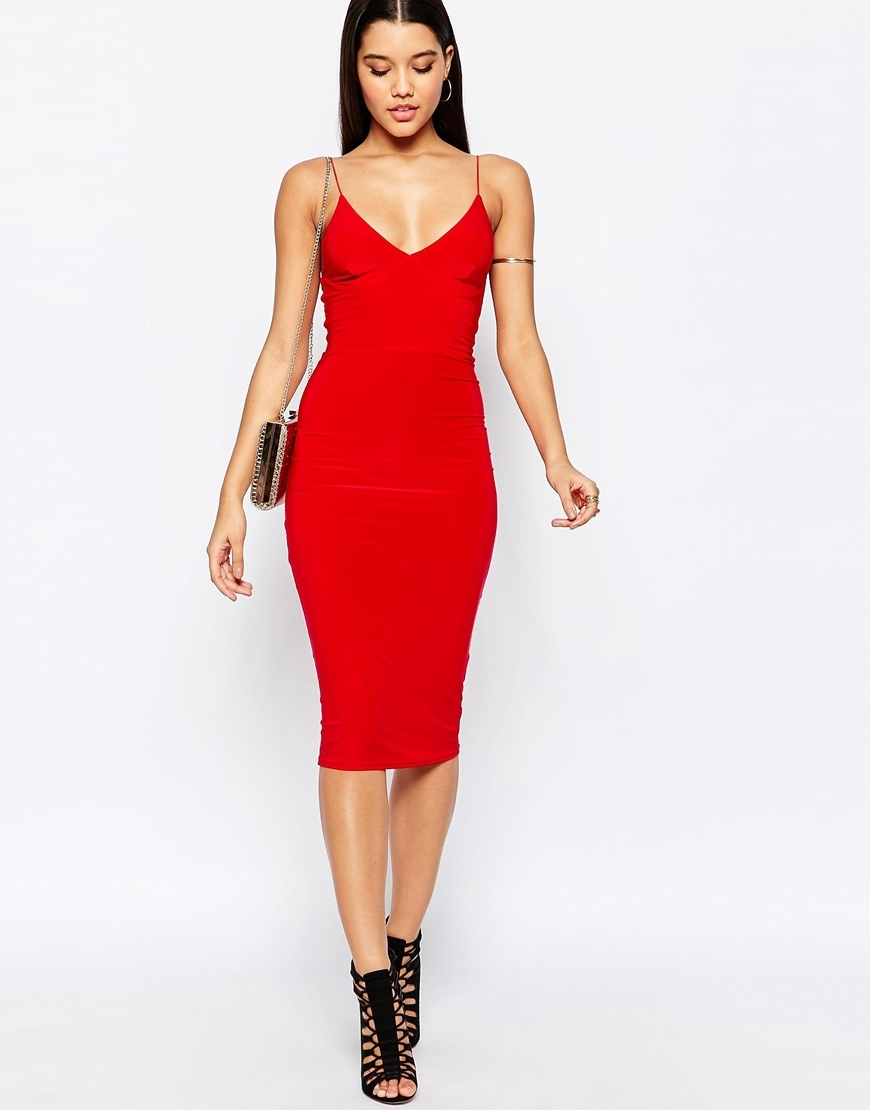 Midi Dress With Cami Strap Red - length: below the knee; neckline: low v-neck; sleeve style: spaghetti straps; fit: tight; pattern: plain; style: bodycon; predominant colour: true red; occasions: evening, occasion; fibres: polyester/polyamide - stretch; sleeve length: sleeveless; texture group: jersey - clingy; pattern type: fabric; season: a/w 2015; wardrobe: event