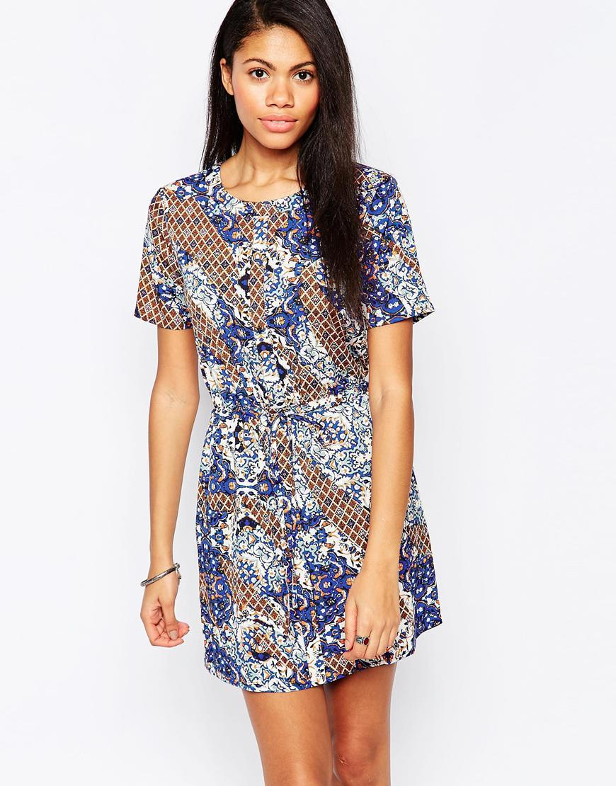 Drawstring Waist Shift Dress In Azure Glass Print Multi - style: shift; length: mini; neckline: round neck; fit: tailored/fitted; waist detail: belted waist/tie at waist/drawstring; predominant colour: navy; secondary colour: camel; occasions: casual; fibres: cotton - 100%; sleeve length: short sleeve; sleeve style: standard; pattern type: fabric; pattern size: standard; pattern: patterned/print; texture group: woven light midweight; season: a/w 2015