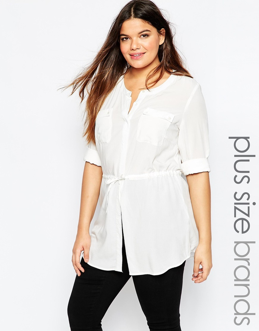 Drawstring Blouse With Pocket Detail White - neckline: v-neck; pattern: plain; style: blouse; waist detail: belted waist/tie at waist/drawstring; predominant colour: white; occasions: casual; length: standard; fibres: viscose/rayon - 100%; fit: body skimming; sleeve length: half sleeve; sleeve style: standard; pattern type: fabric; texture group: other - light to midweight; season: a/w 2015; wardrobe: basic