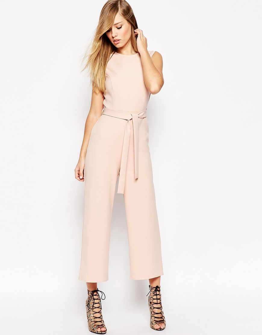 Jumpsuit With Tie Waist And Culotte Leg Blush - neckline: round neck; fit: fitted at waist; pattern: plain; sleeve style: sleeveless; waist detail: belted waist/tie at waist/drawstring; predominant colour: blush; occasions: evening, occasion; length: calf length; fibres: polyester/polyamide - stretch; sleeve length: sleeveless; texture group: crepes; style: jumpsuit; pattern type: fabric; season: a/w 2015; wardrobe: event