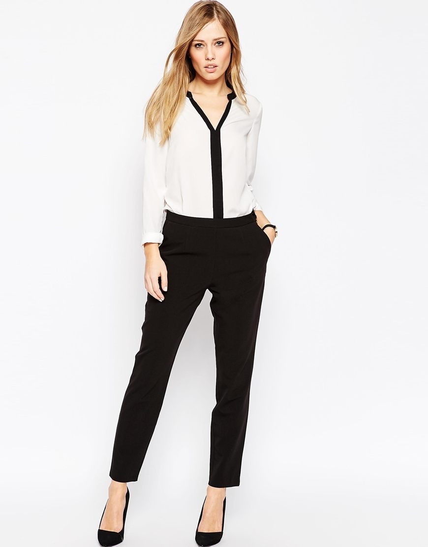 Slim Trousers With Zip Detail Black - length: standard; pattern: plain; waist: high rise; predominant colour: black; occasions: work; fibres: polyester/polyamide - mix; fit: slim leg; pattern type: fabric; texture group: other - light to midweight; style: standard; season: a/w 2015; wardrobe: basic