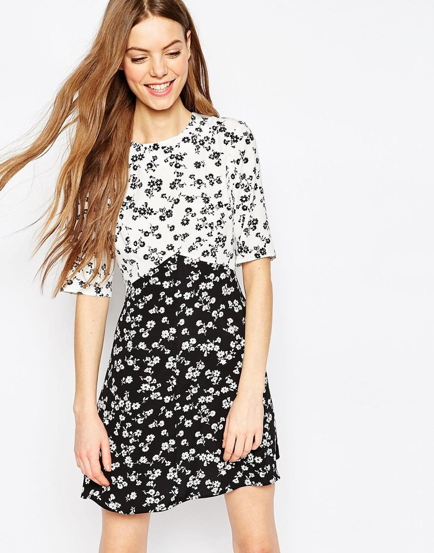 Mono Print Ditsy Skater Dress Mono Print - style: shift; length: mid thigh; secondary colour: white; predominant colour: black; fit: soft a-line; fibres: polyester/polyamide - 100%; neckline: crew; sleeve length: half sleeve; sleeve style: standard; trends: monochrome; texture group: crepes; pattern type: fabric; pattern size: standard; pattern: patterned/print; occasions: creative work; season: a/w 2015; wardrobe: highlight