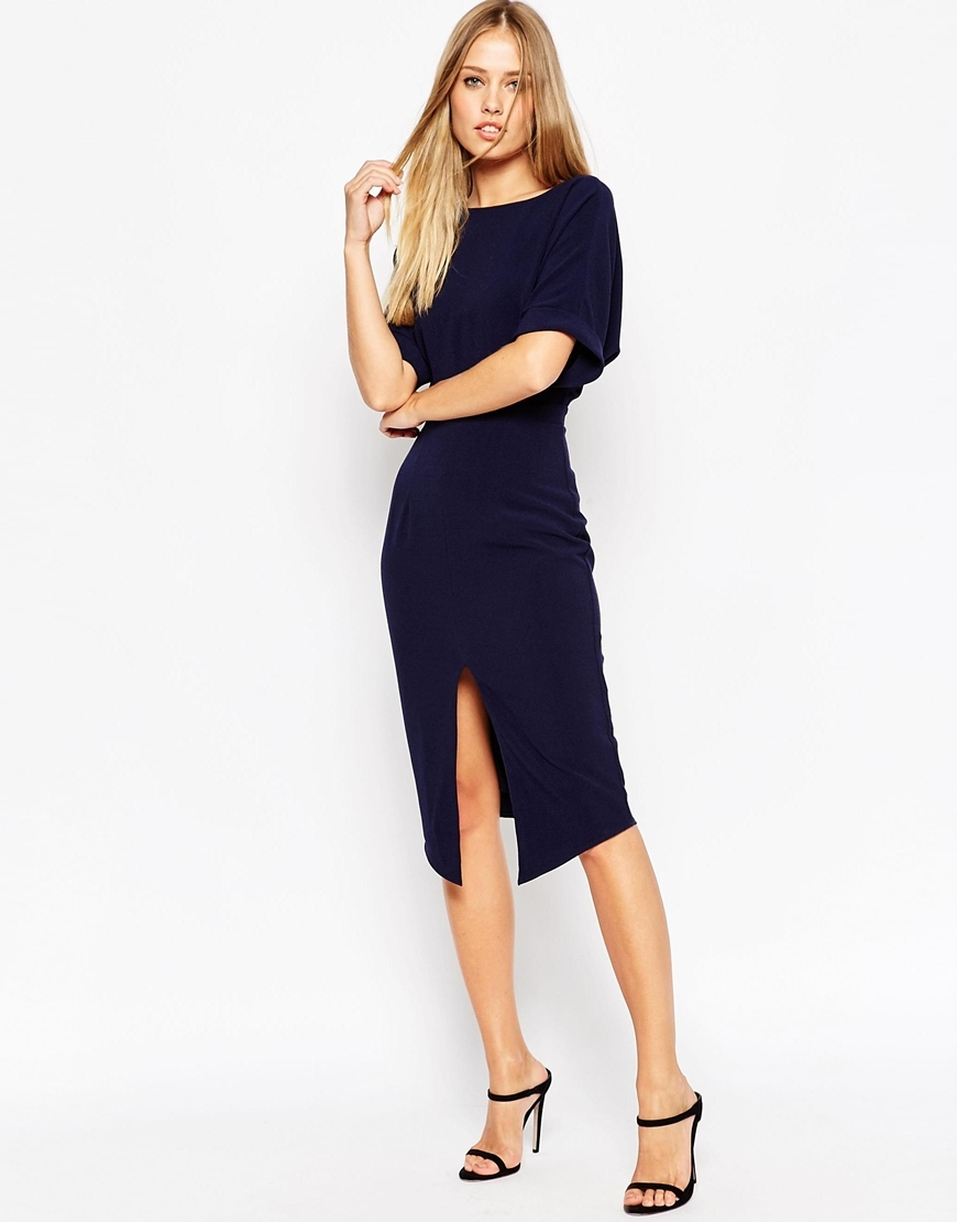 Wiggle Dress With Split Front Navy - style: shift; length: below the knee; fit: tailored/fitted; pattern: plain; waist detail: fitted waist; hip detail: draws attention to hips; predominant colour: navy; fibres: polyester/polyamide - stretch; occasions: occasion; neckline: crew; sleeve length: short sleeve; sleeve style: standard; pattern type: fabric; texture group: other - light to midweight; season: a/w 2015; wardrobe: event
