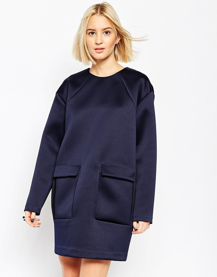 Bonded Satin Shift Dress With Pocket Detail Navy - style: shift; length: mid thigh; fit: loose; pattern: plain; hip detail: front pockets at hip; predominant colour: navy; occasions: casual, creative work; fibres: polyester/polyamide - 100%; neckline: crew; sleeve length: long sleeve; sleeve style: standard; pattern type: fabric; texture group: other - light to midweight; season: a/w 2015; wardrobe: basic