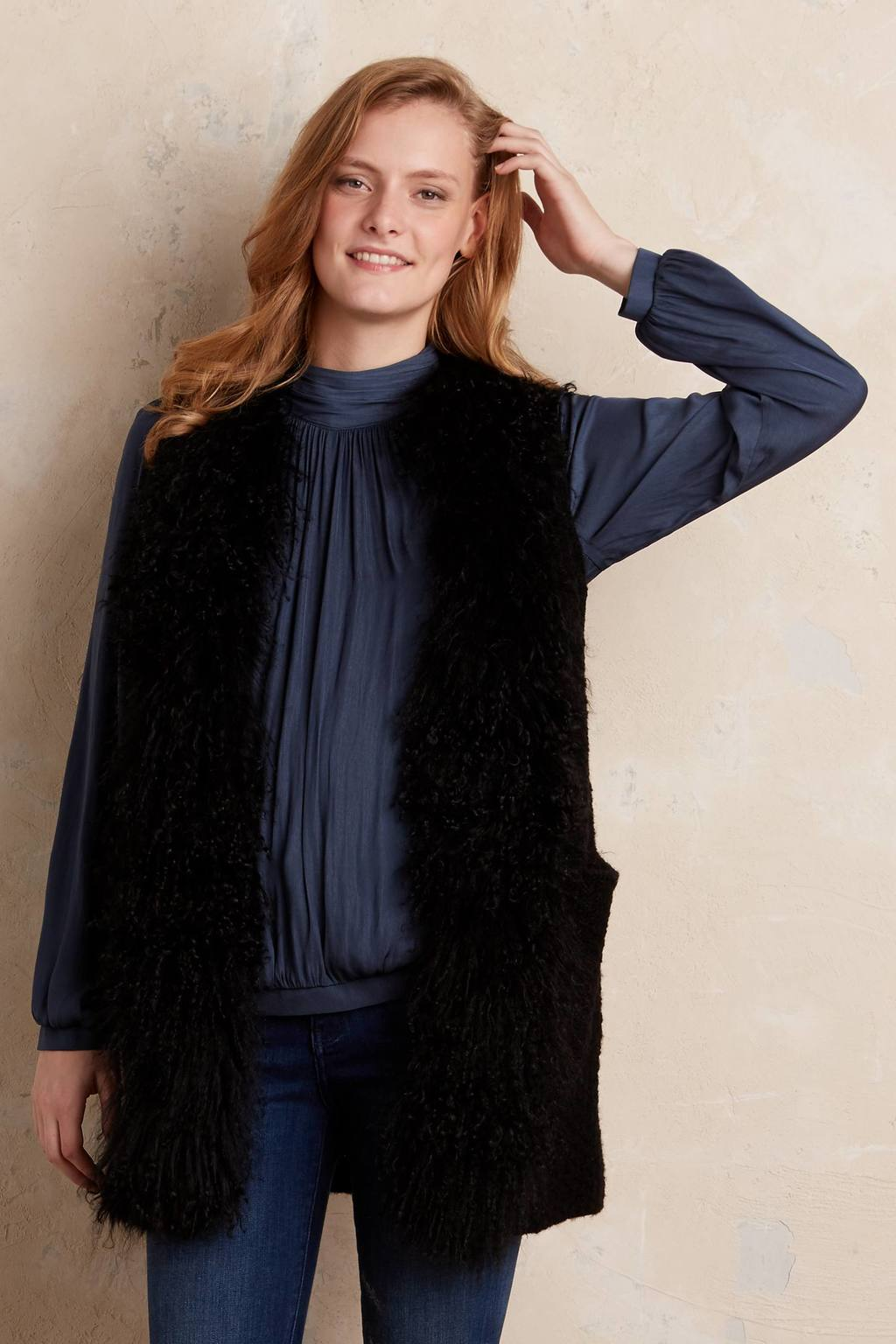 Portrero Fur Trim Cardi - pattern: plain; sleeve style: sleeveless; length: below the bottom; neckline: collarless open; style: open front; predominant colour: black; occasions: casual; fibres: fur - 100%; fit: slim fit; sleeve length: sleeveless; texture group: knits/crochet; pattern type: fabric; season: a/w 2015; wardrobe: basic