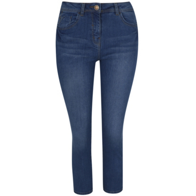 Cropped Jeans Navy - style: skinny leg; length: standard; pattern: plain; pocket detail: traditional 5 pocket; waist: mid/regular rise; predominant colour: denim; occasions: casual; fibres: cotton - stretch; jeans detail: whiskering, dark wash; texture group: denim; pattern type: fabric; season: a/w 2015