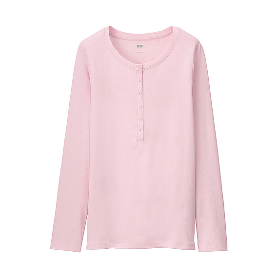 Women Supima Cotton Henley Neck Long Sleeve T Shirt Pink - neckline: round neck; pattern: plain; bust detail: buttons at bust (in middle at breastbone)/zip detail at bust; predominant colour: blush; occasions: casual; length: standard; style: top; fibres: cotton - 100%; fit: body skimming; sleeve length: long sleeve; sleeve style: standard; texture group: cotton feel fabrics; pattern type: fabric; season: a/w 2015; wardrobe: basic