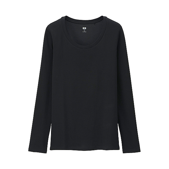 Women Supima Cotton Crew Neck Long Sleeve T Shirt Black - neckline: round neck; pattern: plain; style: t-shirt; predominant colour: black; occasions: casual; length: standard; fibres: cotton - stretch; fit: straight cut; sleeve length: long sleeve; sleeve style: standard; texture group: jersey - clingy; pattern type: fabric; season: a/w 2015; wardrobe: basic