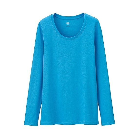 Women Supima Cotton Crew Neck Long Sleeve T Shirt Blue - neckline: round neck; pattern: plain; style: t-shirt; predominant colour: diva blue; occasions: casual; length: standard; fibres: cotton - 100%; fit: body skimming; sleeve length: long sleeve; sleeve style: standard; pattern type: fabric; texture group: jersey - stretchy/drapey; season: a/w 2015