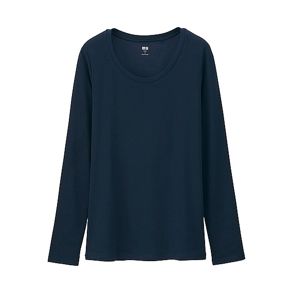 Women Supima Cotton Crew Neck Long Sleeve T Shirt Navy - neckline: round neck; pattern: plain; style: t-shirt; predominant colour: navy; occasions: casual; length: standard; fibres: cotton - 100%; fit: body skimming; sleeve length: long sleeve; sleeve style: standard; pattern type: fabric; texture group: jersey - stretchy/drapey; season: a/w 2015; wardrobe: basic