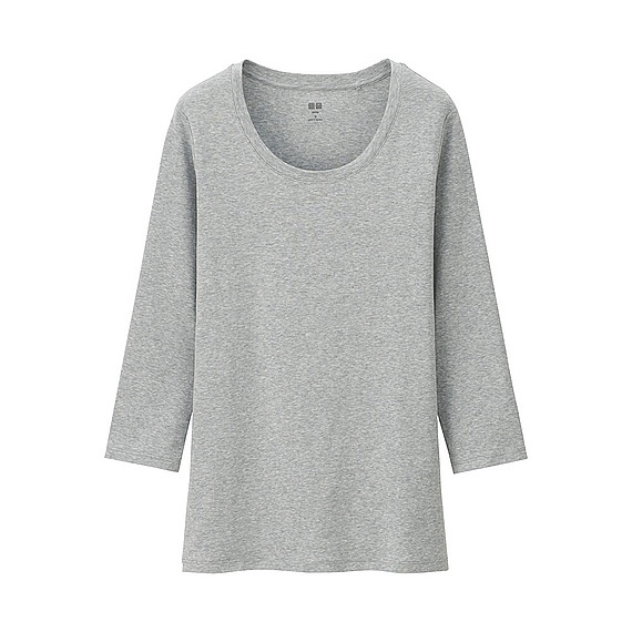 Women Supima Cotton Crew Neck 3/4 Sleeve T Shirt Gray - neckline: round neck; pattern: plain; style: t-shirt; predominant colour: light grey; occasions: casual; length: standard; fibres: cotton - 100%; fit: body skimming; sleeve length: long sleeve; sleeve style: standard; pattern type: fabric; texture group: jersey - stretchy/drapey; season: a/w 2015; wardrobe: basic