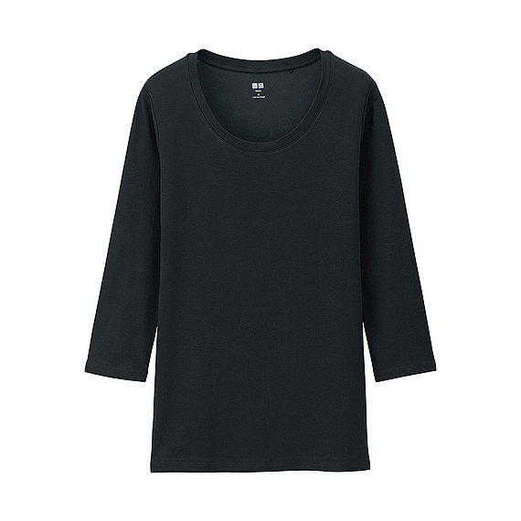 Women Supima Cotton Crew Neck 3/4 Sleeve T Shirt Black - neckline: round neck; pattern: plain; style: t-shirt; predominant colour: black; occasions: casual, creative work; length: standard; fibres: cotton - stretch; fit: straight cut; sleeve length: 3/4 length; sleeve style: standard; pattern type: fabric; pattern size: standard; texture group: jersey - stretchy/drapey; season: a/w 2015; wardrobe: basic