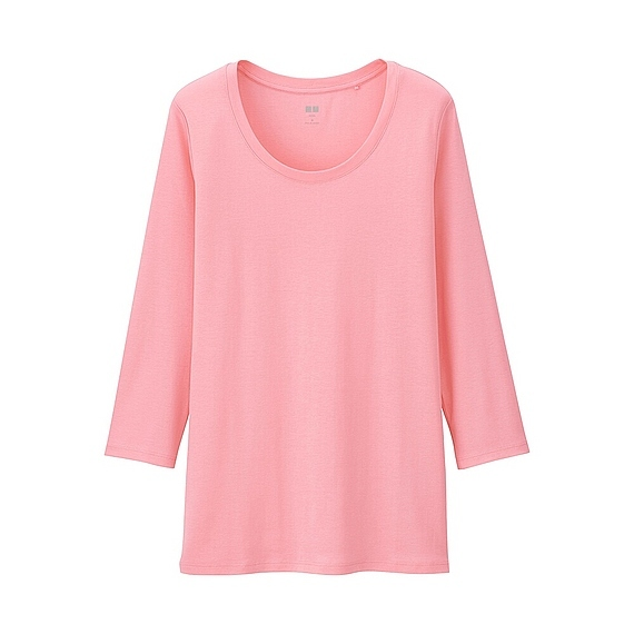 Women Supima Cotton Crew Neck 3/4 Sleeve T Shirt Pink - pattern: plain; style: t-shirt; predominant colour: pink; occasions: casual; length: standard; fibres: cotton - 100%; fit: body skimming; neckline: crew; sleeve length: 3/4 length; sleeve style: standard; pattern type: fabric; texture group: jersey - stretchy/drapey; season: a/w 2015; wardrobe: highlight