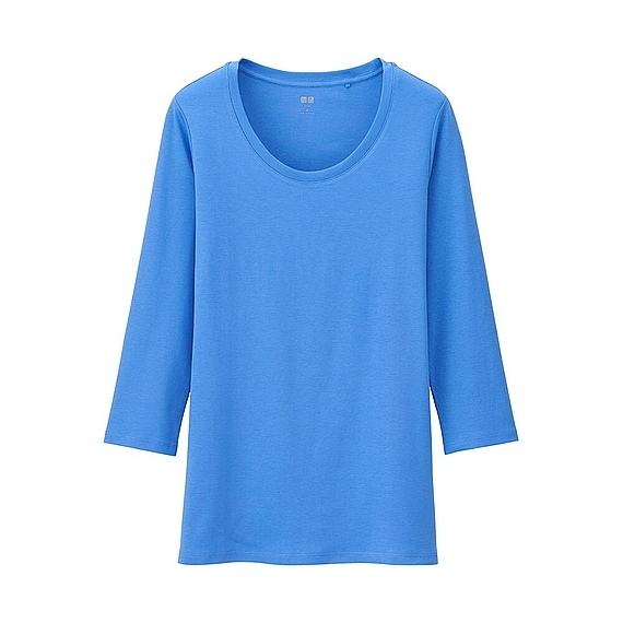 Women Supima Cotton Crew Neck 3/4 Sleeve T Shirt Blue - neckline: round neck; pattern: plain; predominant colour: diva blue; occasions: casual, creative work; length: standard; style: top; fibres: cotton - stretch; fit: straight cut; sleeve length: 3/4 length; sleeve style: standard; pattern type: fabric; pattern size: standard; texture group: jersey - stretchy/drapey; season: a/w 2015; wardrobe: highlight
