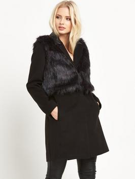2 In 1 Faux Fur Coat - pattern: plain; style: single breasted; collar: standard lapel/rever collar; length: mid thigh; predominant colour: black; occasions: casual, evening, creative work; fit: straight cut (boxy); fibres: polyester/polyamide - 100%; sleeve length: long sleeve; sleeve style: standard; collar break: low/open; pattern type: fabric; texture group: woven bulky/heavy; embellishment: fur; season: a/w 2015; wardrobe: highlight