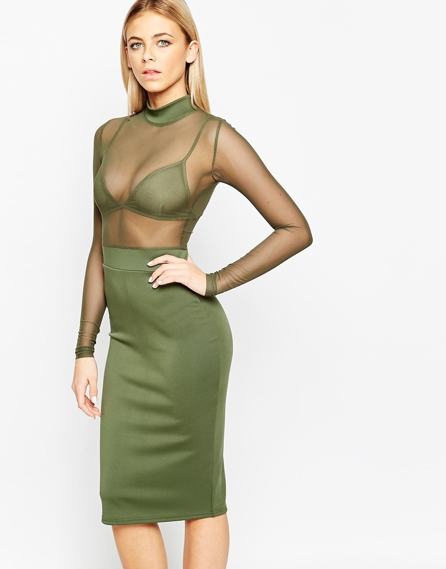 Bodycon Midi Dress With Sheer Top And Bralet Khaki - length: below the knee; fit: tight; pattern: plain; neckline: high neck; style: bodycon; predominant colour: khaki; occasions: evening; fibres: polyester/polyamide - stretch; sleeve length: long sleeve; sleeve style: standard; texture group: jersey - clingy; pattern type: fabric; season: a/w 2015; wardrobe: event