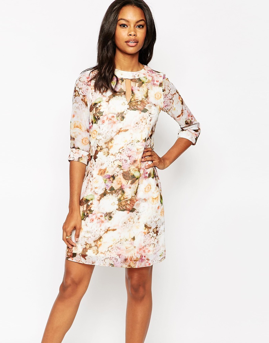Floral Shift Dress Multi - style: shift; predominant colour: ivory/cream; length: just above the knee; fit: body skimming; fibres: polyester/polyamide - 100%; neckline: crew; sleeve length: 3/4 length; sleeve style: standard; pattern type: fabric; pattern size: big & busy; pattern: florals; texture group: other - light to midweight; occasions: creative work; multicoloured: multicoloured; season: a/w 2015; wardrobe: highlight